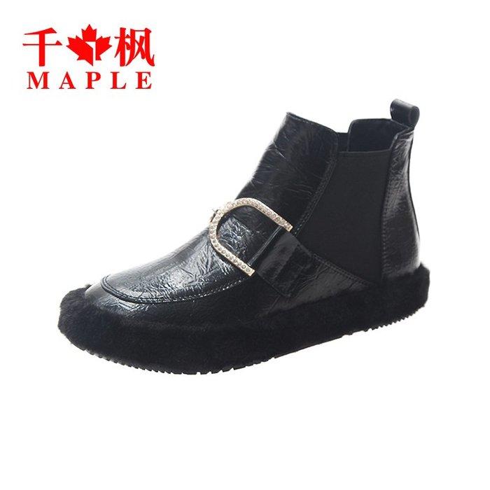 棉靴 機車靴 潮牌 韓國老板娘同款 短靴 女 靴子 時尚毛毛鞋潮水鉆平底棉鞋