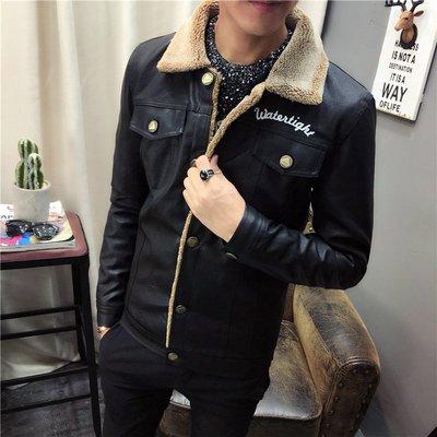 【MOZ潮流男装】冬季青少年男士韓版修身時尚羊羔毛PU皮衣外套潮流款夾克棉衣