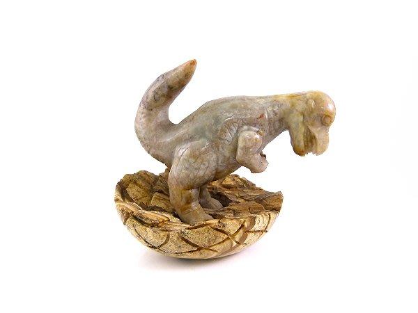 ☆寶峻水晶☆恐龍糞化石 恐龍雕刻擺件 蛋為圖畫石 DS-3