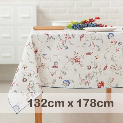 CasaBella美麗家居 | 防水 桌巾 月牙白花藤 132x178cm | 桌布 野餐 餐墊