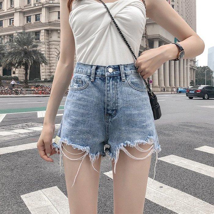 2件免運~熱銷新款~破洞牛仔短褲女夏季新款韓版收腰顯高顯瘦闊腿褲毛邊a字熱褲