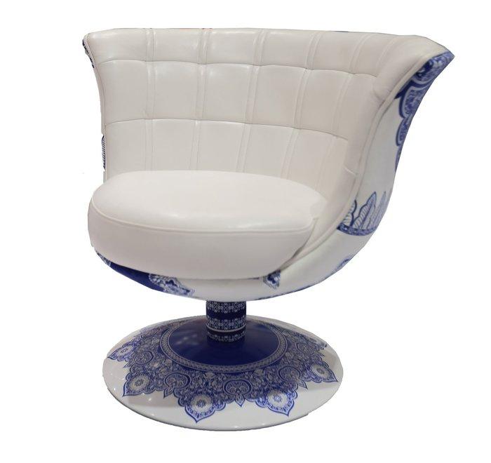 【南洋風休閒傢俱】造型單椅系列-甄環米白單人沙發 青花瓷 古典風 皮沙發 單椅 古典端莊(JF184-1)
