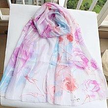 (QQ) 購自日本 日版 Lanvin 可手洗 彩色 花花 頸巾(日本製)披肩 毛巾 手巾絲巾 scarf Vivienne lanvinenbleu