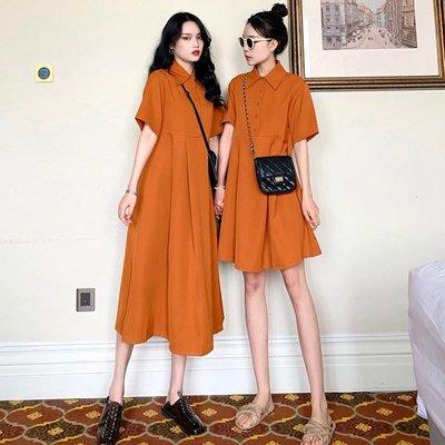 時尚女裙  夏季新款復古百搭純色高腰POLO領娃娃裙中長款短袖單排扣連衣裙女
