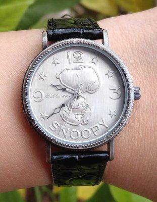 【卡漫迷】 八折特價 Snoopy 皮革 手錶 鐵灰 黑 ㊣版 史努比 史奴比 女錶 卡通錶 復古 經典 花生漫畫