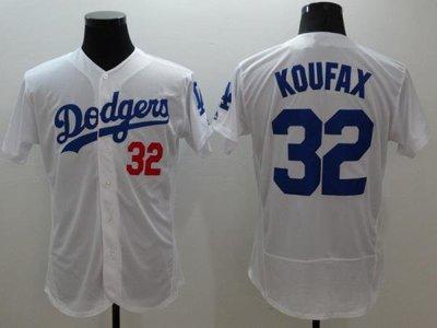 棒球衣服 精英球員版短袖衫大碼嘻哈Dodgers道奇隊 32# KOUFAX ainimkin