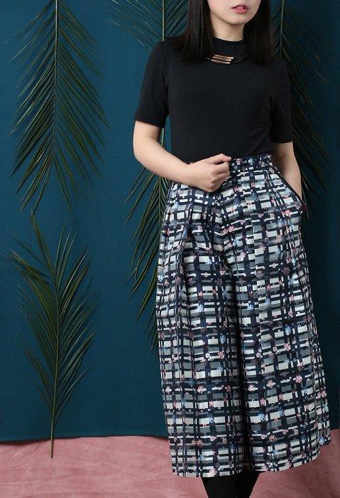 SMACHIC studio 獨立設計師品牌 / 歐根紗日式印花寬版輪廓寬褲 復古窗花時尚