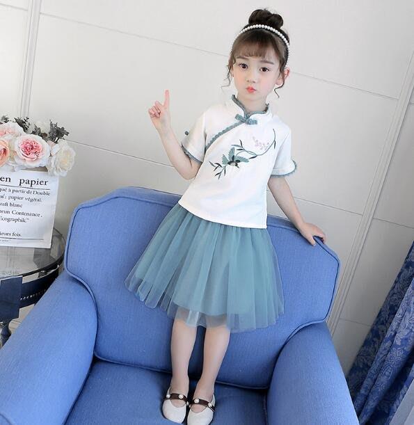 莎芭 童裝 女童漢服 夏裝中國風超仙古風改良唐裝 古裝 兒童漢服 寶寶襦裙 生日禮物 洋裝 上衣+短裙