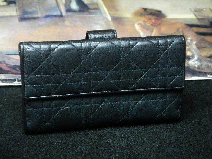 【夜間飛行】(保證100%真品)  Dior 黑色小羊皮三折長夾 /限時特價