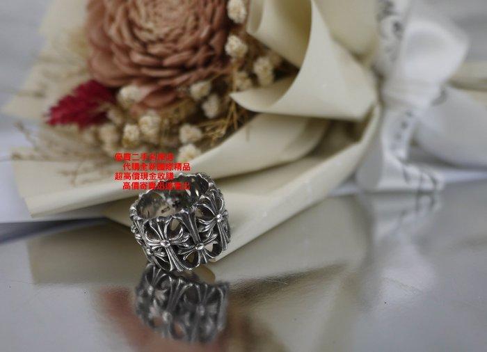 優買二手精品名牌店 Chrome Hearts 克羅心 純銀 寬版 滿版 十字 架 花 戒指 戒子 戒 美品