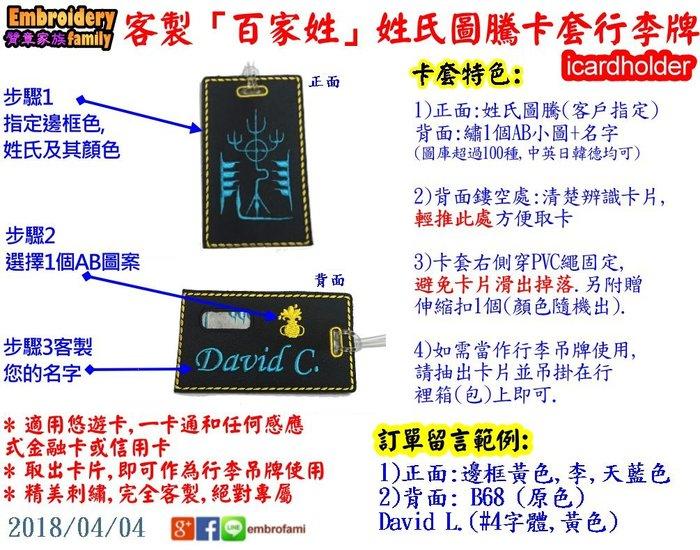 ※王趙劉姓客戶專區※客製行二合一雙用卡套行李吊牌icardholder(姓氏圖騰+1個AB圖+名字) X2個