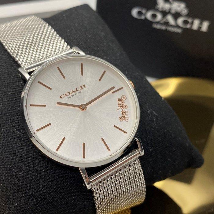 COACH蔻馳女錶,編號CH00010,36mm銀圓形精鋼錶殼,銀白色簡約錶面,銀色精鋼錶帶款,原廠限量款,不怕被仿冒