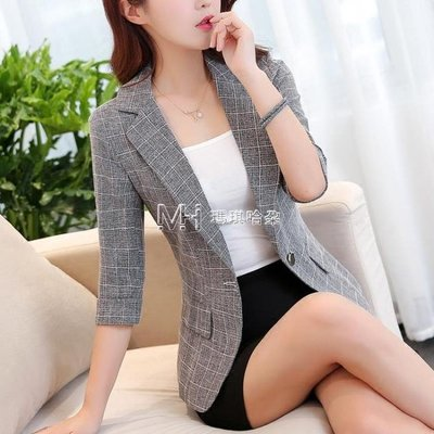 西装外套  格子小西裝女韓版短款薄外套七分袖休閒復古西服修身