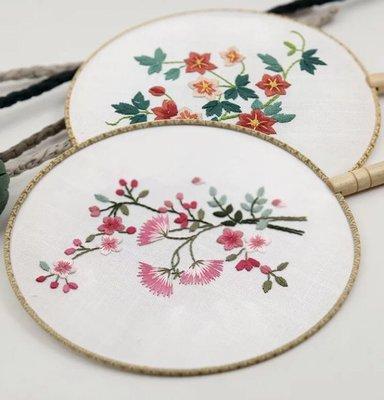 手工刺繡diy材料包初學布藝創意魯繡中國風掛畫團扇