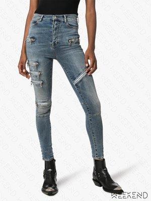 【WEEKEND】 UNRAVEL 破壞 高腰 排扣 拉鍊 緊身 窄管 牛仔褲 藍色 19秋冬 折扣