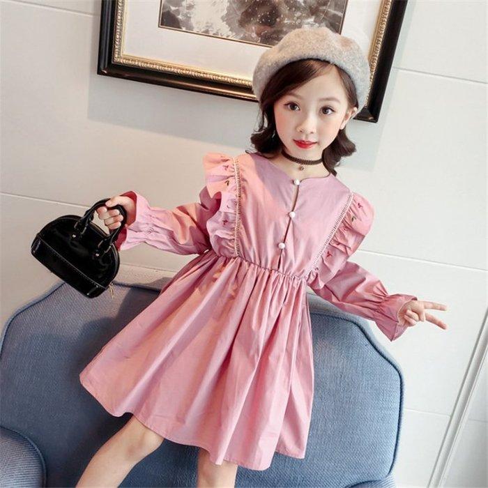 •*~ 辣媽咪衣飾小舖 ~*•❤童裝系列 📣X540232韓版甜美可愛小公主飛袖喇叭袖長袖洋裝