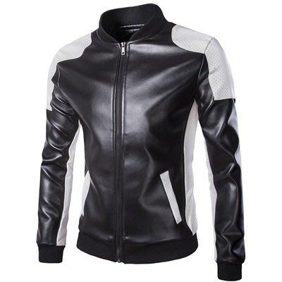 皮衣 外套 皮夾克-黑白拼色立領短版男外套2色73ua1[獨家進口][米蘭精品]