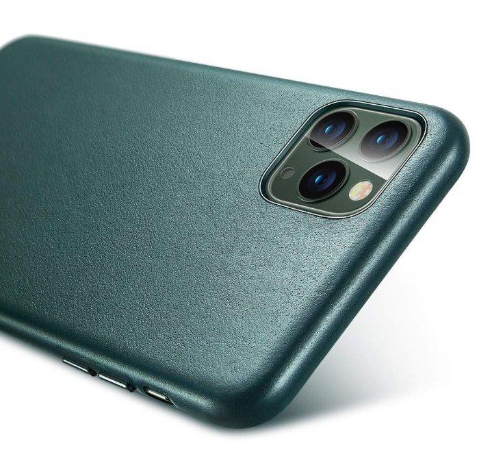 《FOS》日本 ESR iPhone 11 Pro Max 薄型 皮革 手機殼 夜幕綠 真皮 防指紋 保護殼 防震 防摔