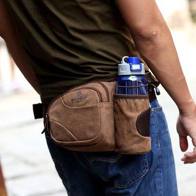 馬瑞克 防潑水 帆布包腰包男胸包 戶外運動健身水壺包斜挎小包包
