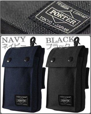 momo日本製PORTER TOKYO JAPAN男裝黑色電話腰掛包HTC U11 EYEs藍色中性手機套腰包waist pouch小腰袋phone bag禮物
