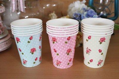 {采庭生活館}大容量碎花紙杯 英式下午茶茶杯歐式婚禮派對野餐Candy bar 餐具免洗杯(12個)