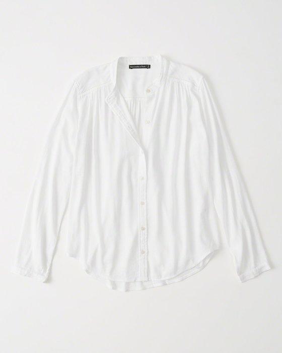 Maple麋鹿小舖 Abercrombie&Fitch * AF 白色無領設計素面長袖襯衫 * ( 現貨S號 )