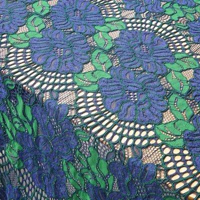 橙子的店 T5藍+綠骨線刺繡睫毛蕾絲布面料親膚旗袍連衣裙面料一段1.5*1.5米