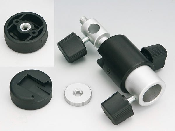 呈現攝影-多功能小雲台閃燈座(傘座)、燈架接口 、燈 腳架可用,可加透射傘反光傘