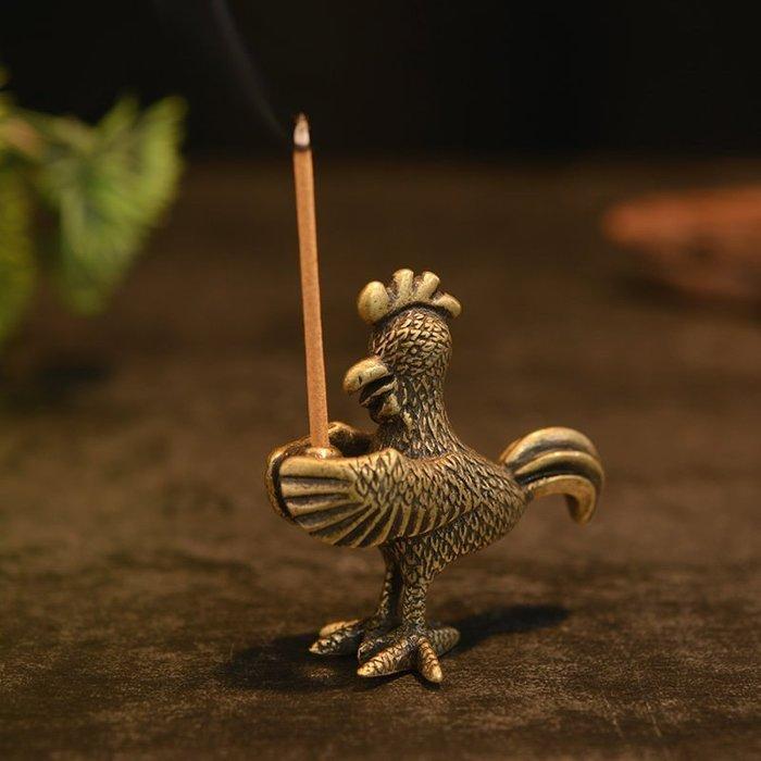 生肖雄雞純銅香插 線香香爐家居工藝品 茶寵擺件茶托架