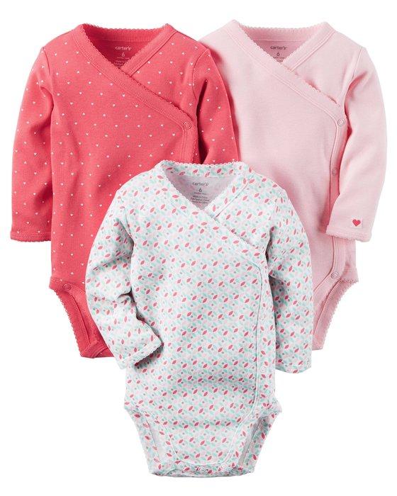 小米媽美國小鋪 carter's 漂亮可愛粉色側釦三件組包屁衣 9M