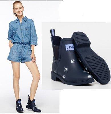 雨鞋女防滑L-Rain2017春夏燕子深藍色切爾西膠鞋短筒雨靴