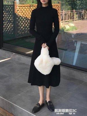 秋冬季新款韓版pphome裙子長裙半高領長袖打底洋裝女潮