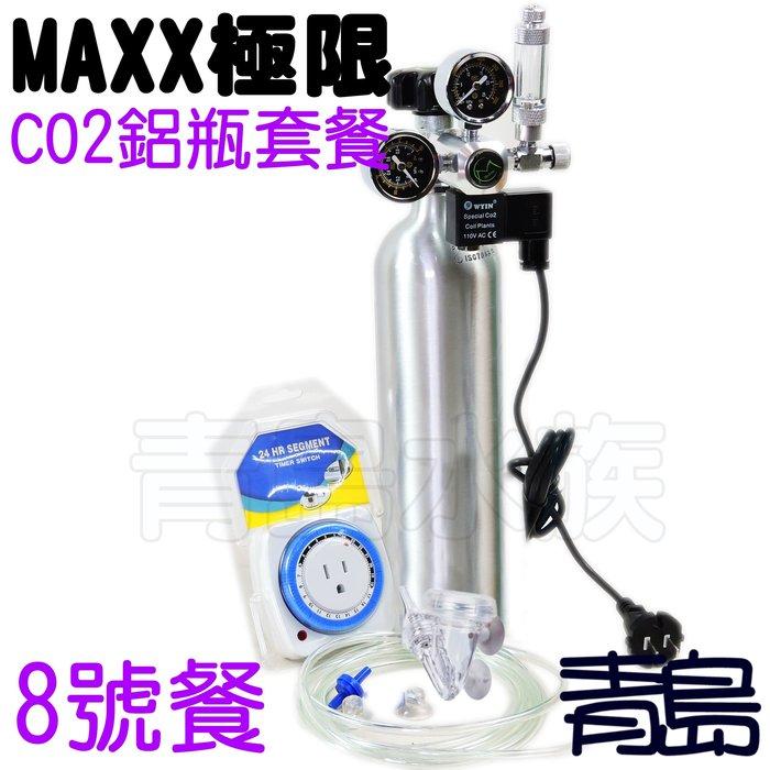 。。。青島水族。。。台灣MAXX極限---CO2鋁瓶套餐 雙錶電磁閥 計泡器 細化器 止逆閥 風管==側路式8號餐3L