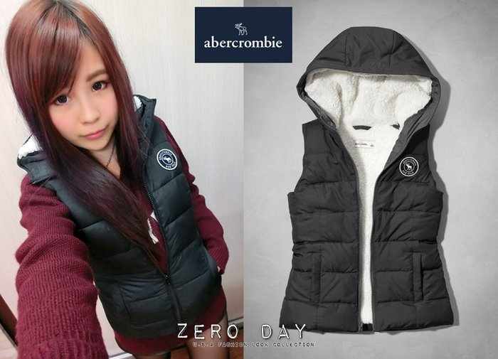 a&f abercrombie&fitch kids girl sherpa-lined puffer vest背心-灰