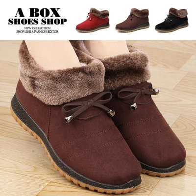 格子舖~~ANB~369~3CM短靴 毛茸蝴蝶結絨面平底雪靴 媽媽鞋 奶奶鞋 3色