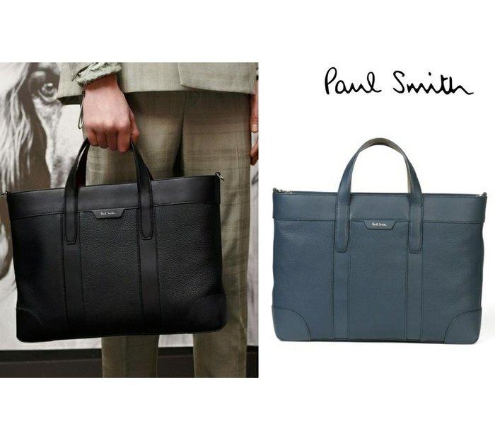 Paul Smith  ( 灰藍色 / 黑色 )  真皮 手提包 肩背包 公事包 紳士包 中性款|100%全新正品|特價!