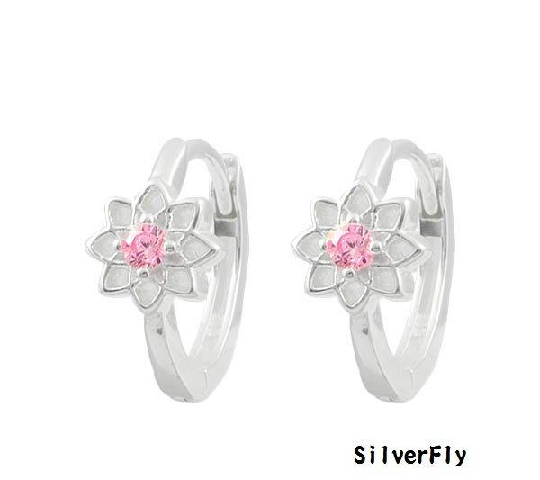 粉花鑽純銀易扣耳環《 SilverFly銀火蟲銀飾 》
