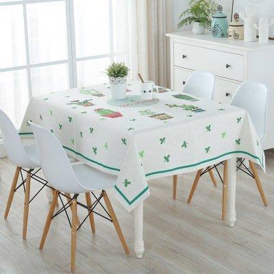 MSJ 北歐棉麻餐桌巾 桌布 居家家飾 餐廳 咖啡廳 背景布 拍攝道具 加厚亞麻款 仙人掌印花