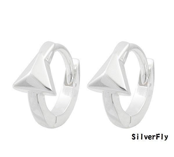 三角純銀易扣耳環-耳骨款《 SilverFly銀火蟲銀飾 》