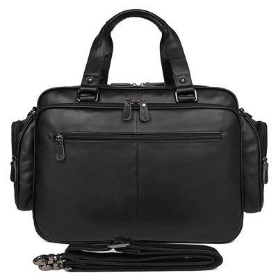 手提 包 真皮公事包-黑色牛皮16吋多隔層男包包73ur50[獨家進口][米蘭精品]