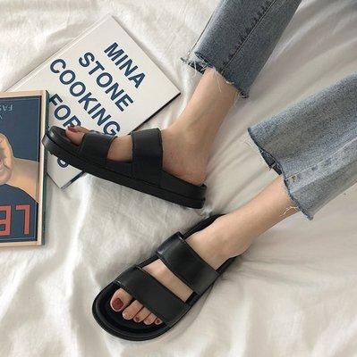 現貨促銷 ins原宿港風復古雙帶拖鞋女夏學生厚底沙灘鞋外穿涼鞋 一字涼拖  女鞋 平底鞋 休閒鞋36-40碼