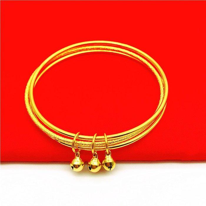 送禮佳品 鍍金首飾品越南沙金久不掉色三生三世鈴鐺手鐲女日韓仿金細手環
