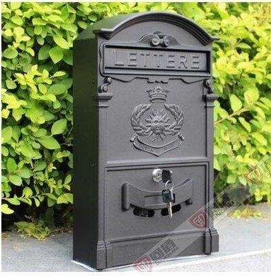 『格倫雅品』室外歐式別墅信報箱鑄鋁信箱防銹復古郵箱掛牆帶鎖-太陽黑色