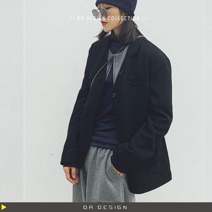 10/31新品►DR.DESIGN│DR31746-暗黑小眾 歐洲中世紀 復古緹花 羊毛 黑色 毛呢 半翻領 西裝外套