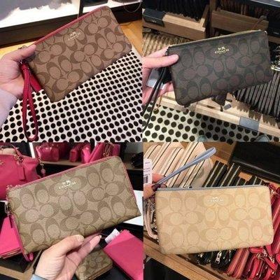 (Outlet特惠)COACH 54057 新款女士印花雙層手拿包 零錢包 內置多卡槽 附購買證明