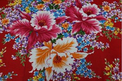 杜鵑花 (暗紅色) 純棉花布 三尺寬 客家花布/印花布/被單布/拼布/新遠東染紡