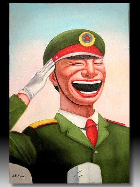 【 金王記拍寶網 】U1236  九O年代當代亞洲藝術家 岳敏君款 手繪油畫一張 ~ 罕見系列作品 稀少 藝術無價~