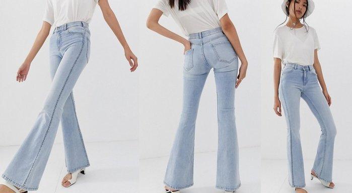 ◎美國代買◎ASOS代買帶白刷色搭配喇叭褲口復古時尚街風高腰淺藍喇叭牛仔褲~歐美街風~大尺碼