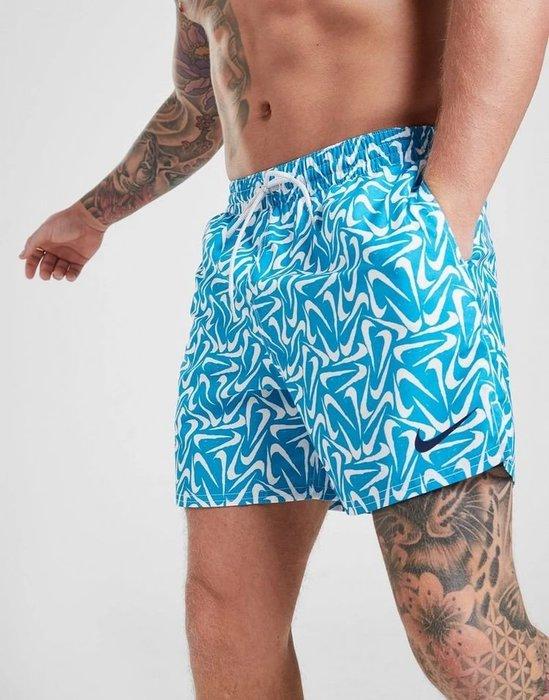 南◇2020 5月 Nike Core Swim Shorts 滿版小勾勾  藍色 短褲 休閒 海灘褲 泳褲 衝浪褲