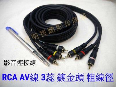 【昌明視聽】AV影音線 長度15英尺 共3條 鍍金接頭 線徑粗 品質好 高傳真度 色差線可用